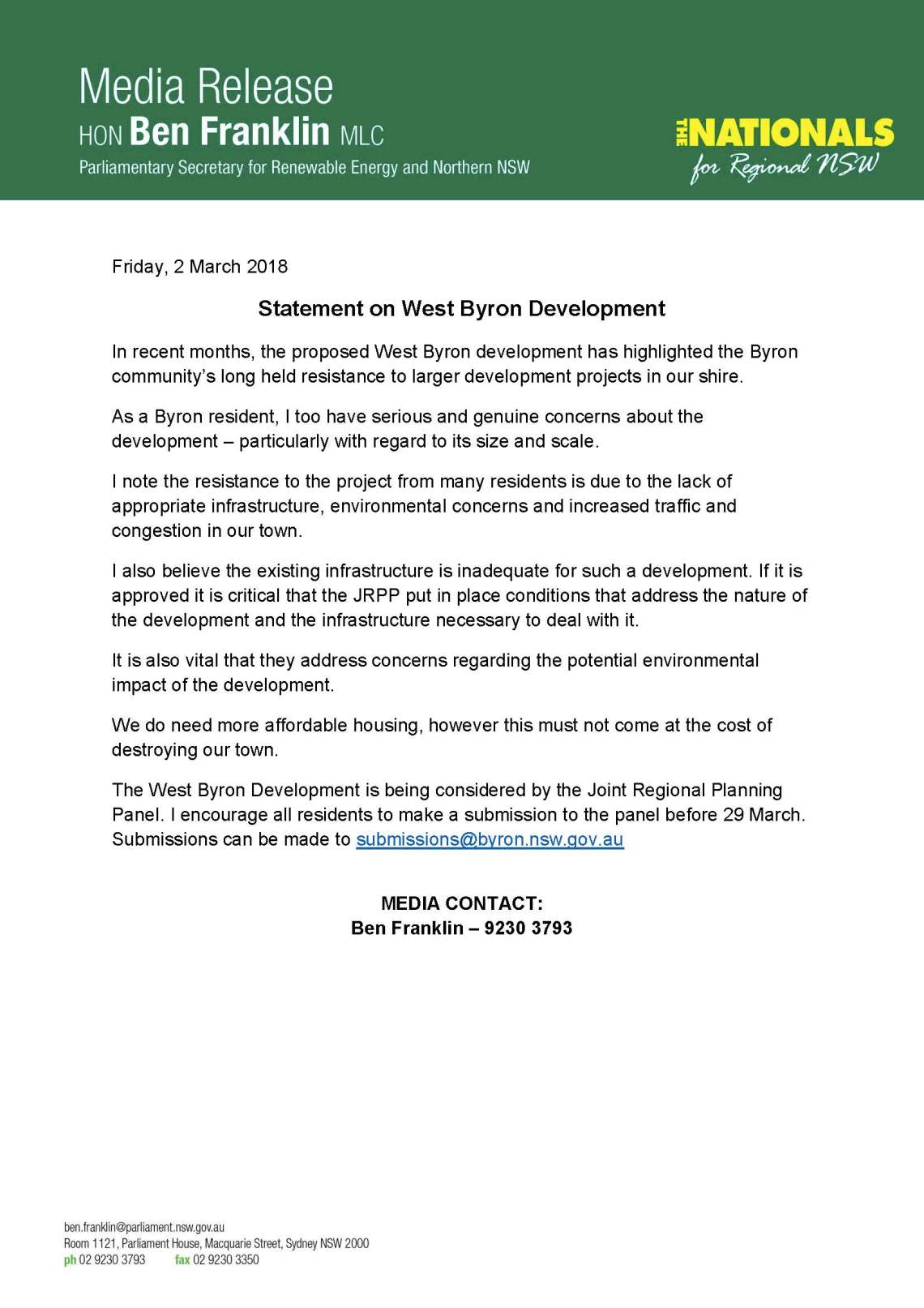 Ben Franklin MEDIA STATEMENT - West Byron Development