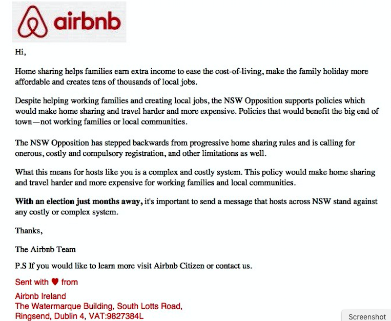 Air BnB telling us how to vote – Byron Residents' Group